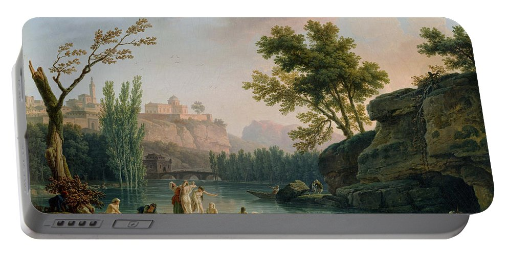 Claude Joseph Vernet Portable Battery Charger featuring the painting Summer Evening Landscape In Italy by Claude Joseph Vernet