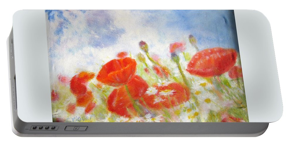 Impressionism Portable Battery Charger featuring the painting Summer Flowers by Glenda Crigger