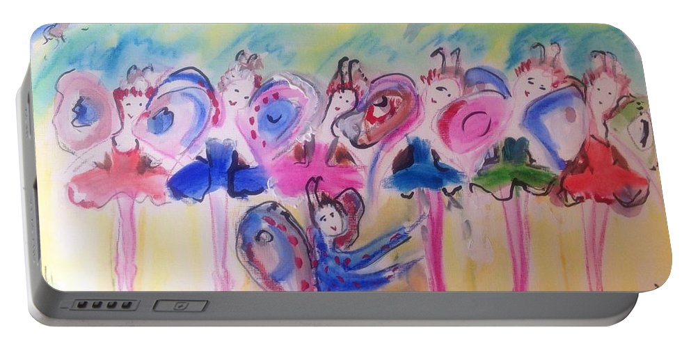 Flutter Portable Battery Charger featuring the painting Summer Flutter by Judith Desrosiers