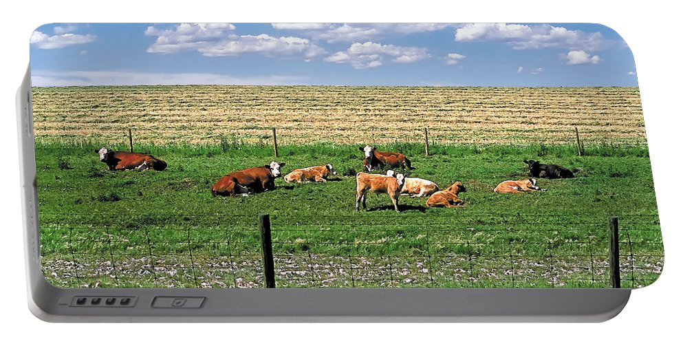 Scenic Portable Battery Charger featuring the photograph Summer Furrows by Terry Reynoldson