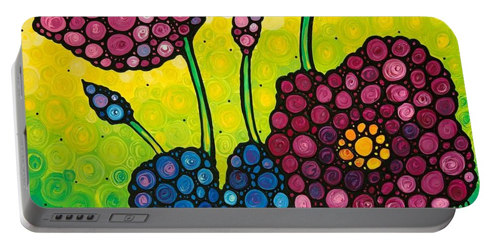 Flowers Portable Battery Charger featuring the painting Summer Garden by Sharon Cummings