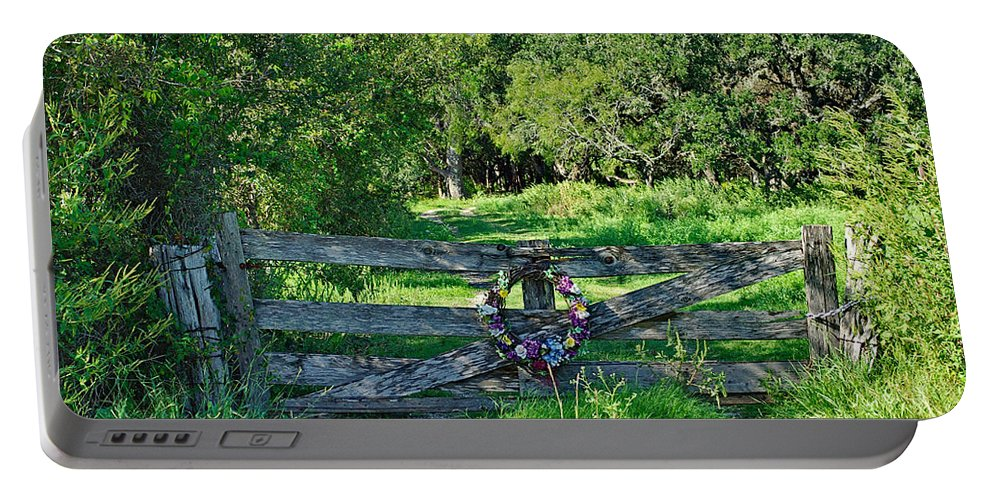 Gate Portable Battery Charger featuring the photograph Summer Gate by Gary Richards