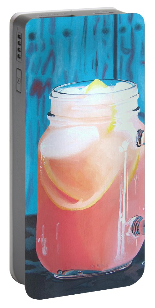 Grapefruit Portable Battery Charger featuring the painting Summer In A Mug by Kayleigh Semeniuk