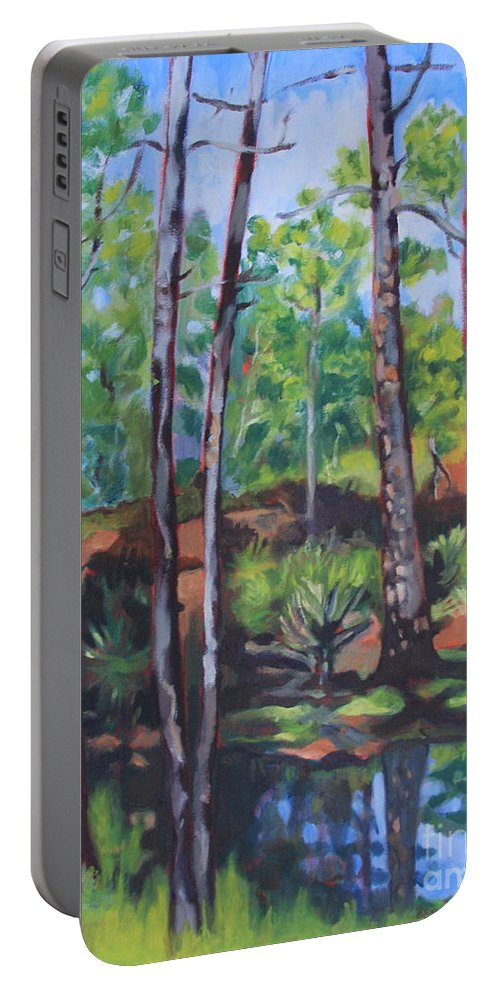 Landscape Portable Battery Charger featuring the painting summer in Saint Andrews Park by Jan Bennicoff