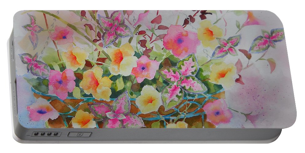 Flowers Portable Battery Charger featuring the painting Summer Joy by Amy Householder