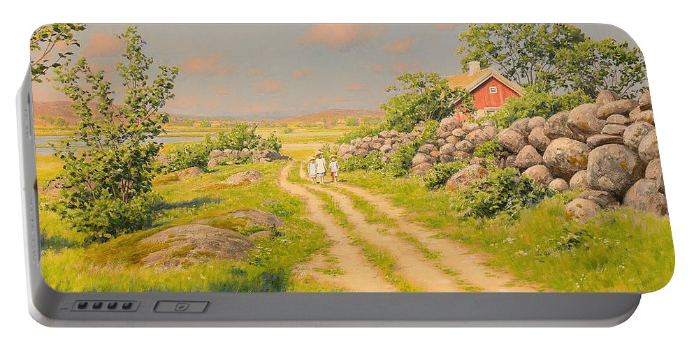 Summer Portable Battery Charger featuring the painting Summer Landscape by Mountain Dreams