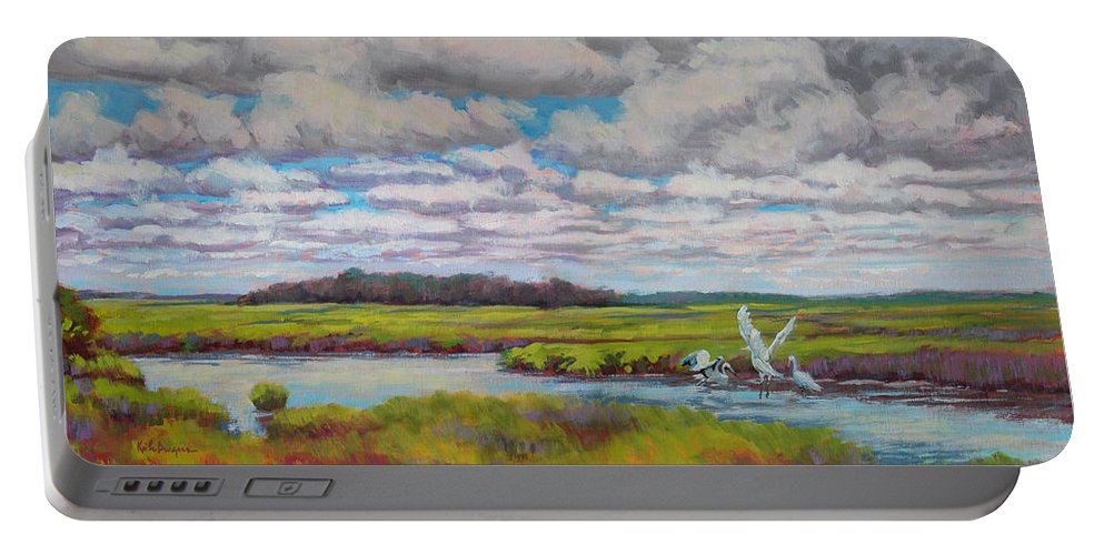 Impressionism Portable Battery Charger featuring the painting Summer Marsh by Keith Burgess