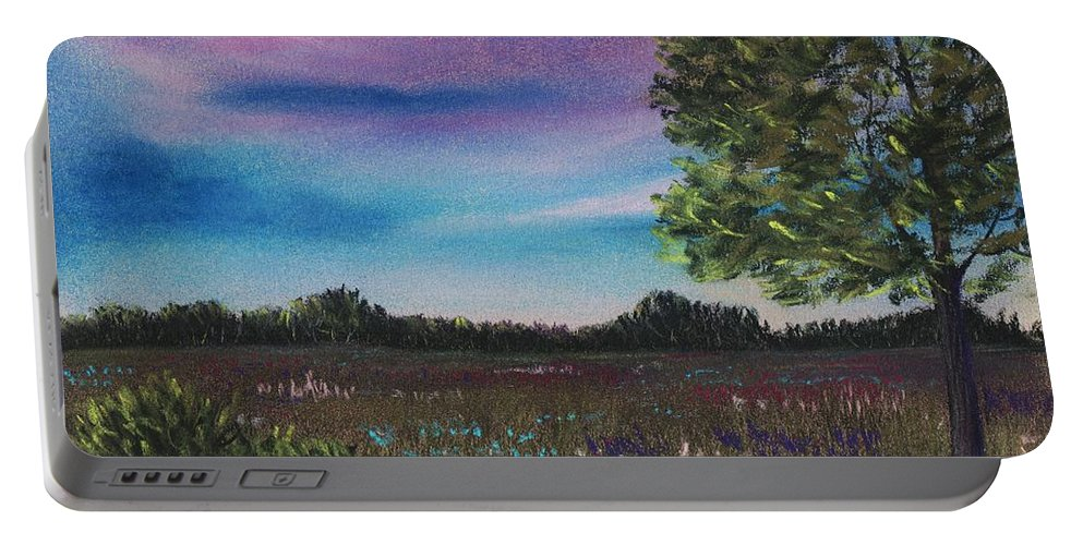 Landscape Portable Battery Charger featuring the painting Summer Meadow by Anastasiya Malakhova