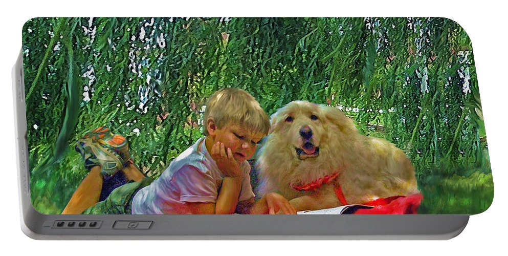 Jane Schnetlage Portable Battery Charger featuring the painting Summer Reading by Jane Schnetlage