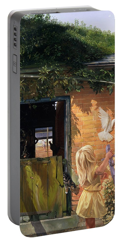 Dove; Michaelmas Daisy; Barn Door; Ivy Portable Battery Charger featuring the painting Summer Reflection by Timothy Easton