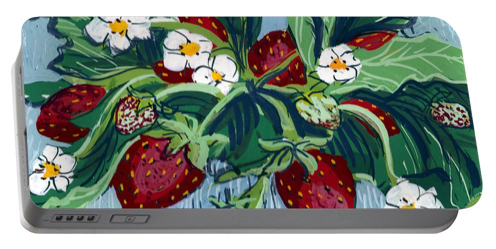 Summer Portable Battery Charger featuring the painting Summer Strawberries by Mary Palmer