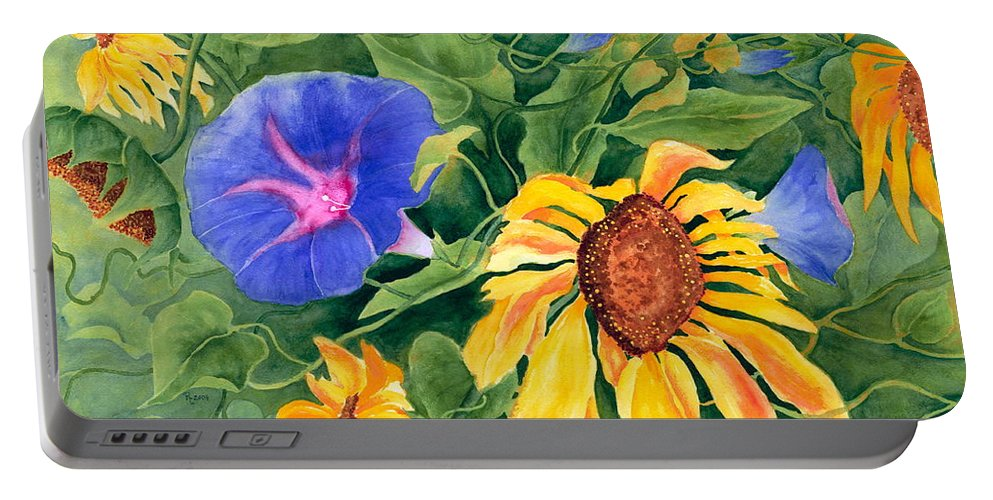 Sunflower Portable Battery Charger featuring the painting Summer Tango by Rhonda Leonard