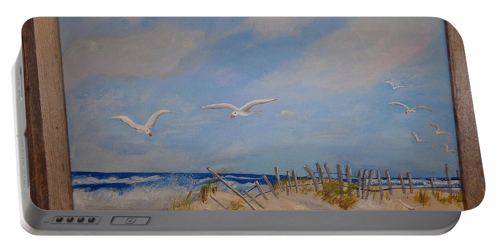 Seascape Portable Battery Charger featuring the painting 'summer's End' by Carol Lynn Bronte