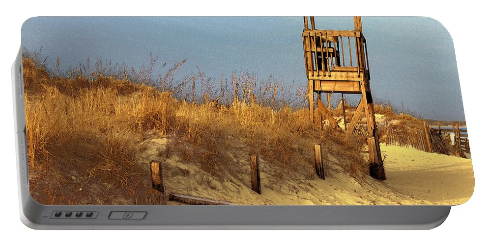 Beach Portable Battery Charger featuring the digital art Summer's Over by William Sargent