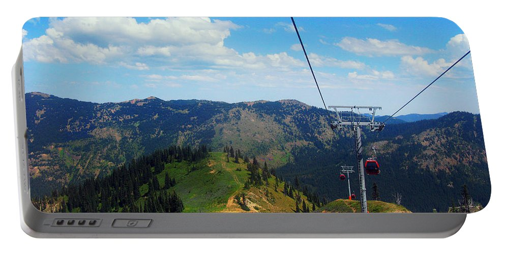 Photograph Portable Battery Charger featuring the digital art Summertime Chairlift Ride by Kathy Moll
