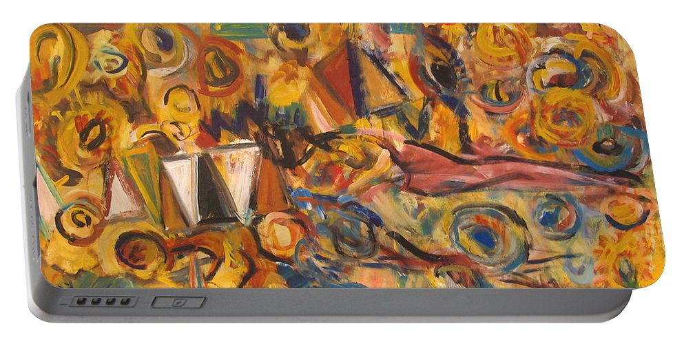 Land Scape Portable Battery Charger featuring the painting Sun- Bathing Among Yellow Roses by Fereshteh Stoecklein