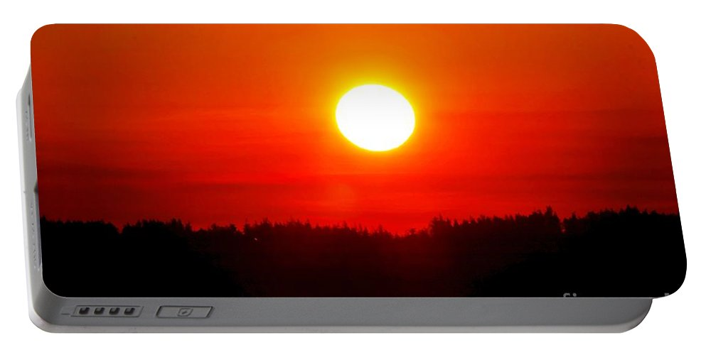Sun Portable Battery Charger featuring the photograph Sun Blast Over Whidbey Island Washington State by Tap On Photo