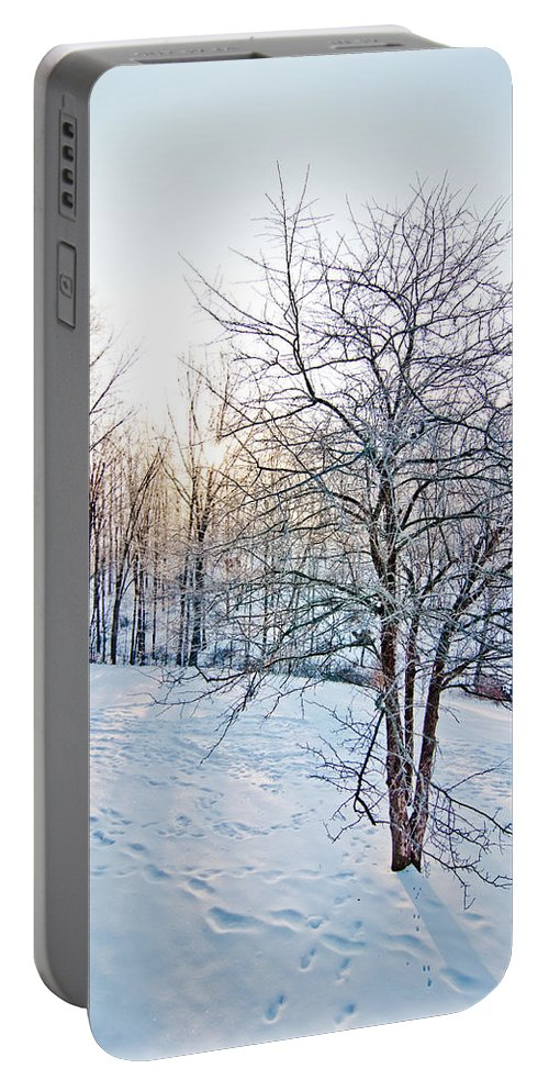 Sun Portable Battery Charger featuring the photograph Sun Over A Snowy Day by Shirley Tinkham