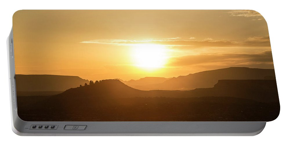 Arizona Portable Battery Charger featuring the photograph Sun Sets With An Orange Glow by Matt Andrew