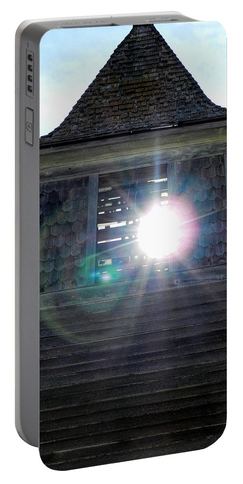 Church Portable Battery Charger featuring the photograph Sun Through The Steeple-by Cathy Anderson by Cathy Anderson