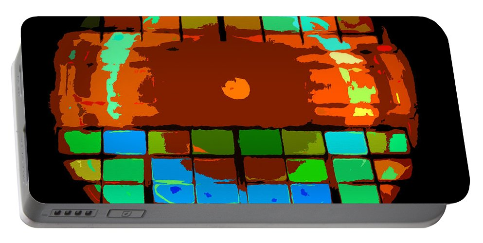 Abstract Art Portable Battery Charger featuring the painting Sun Through Windows by David Lee Thompson