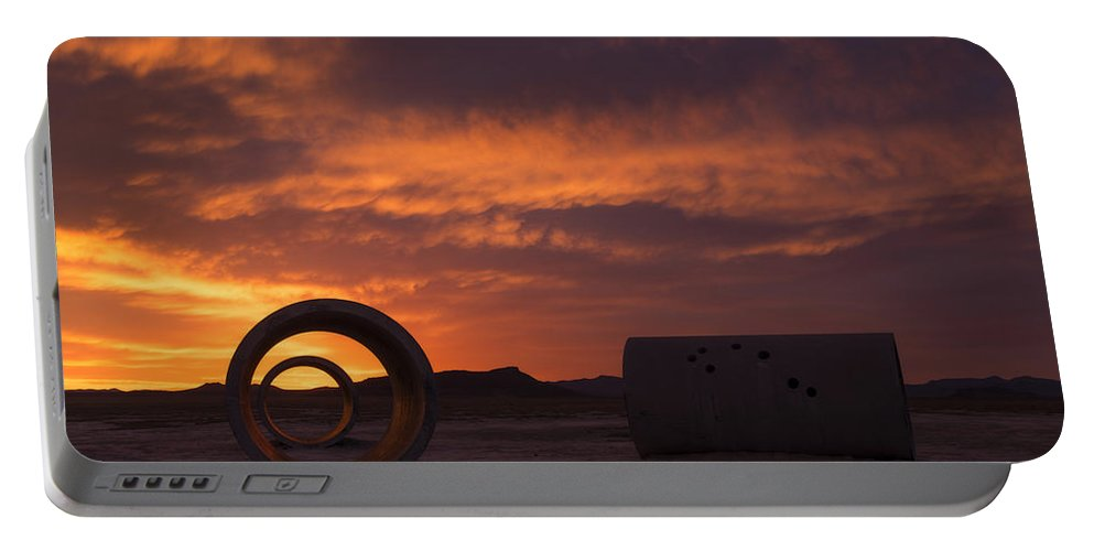Utah Portable Battery Charger featuring the photograph Sun Tunnel Sunset by Dustin LeFevre