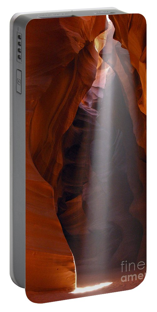 Upper Antelope Slot Canyon Page Arizona Canyons Rock Formation Formations Sunbeam Sunbeams Cave Caves Cavern Caverns Portable Battery Charger featuring the photograph Sunbeam by Bob Phillips