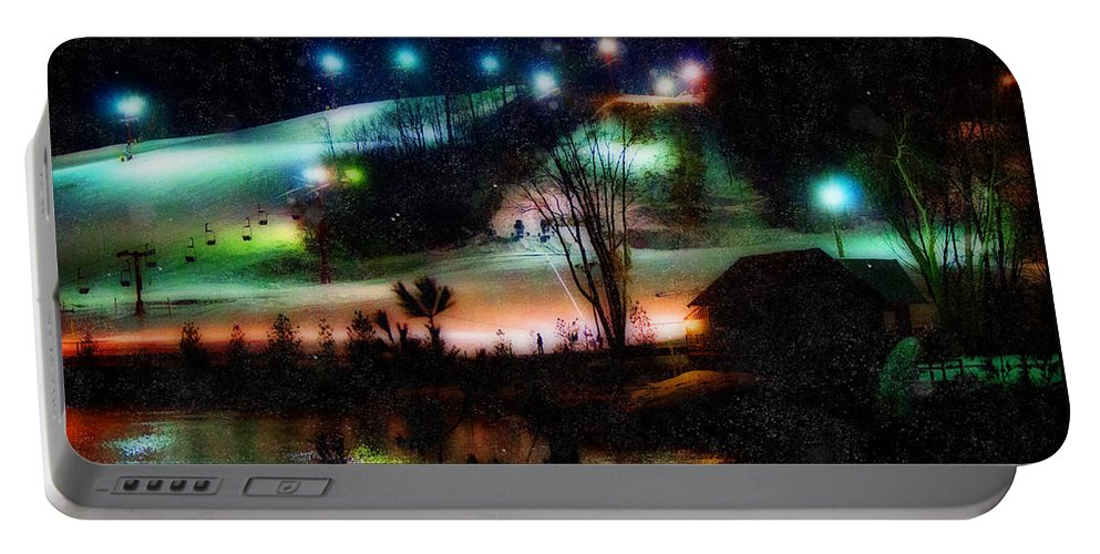 Sunburst Ski Hill Portable Battery Charger featuring the photograph Sunburst In The Snow by Susan McMenamin