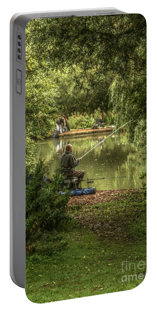 Sunday Fishing Portable Battery Charger featuring the photograph Sunday Fishing At The Lake by Jeremy Hayden