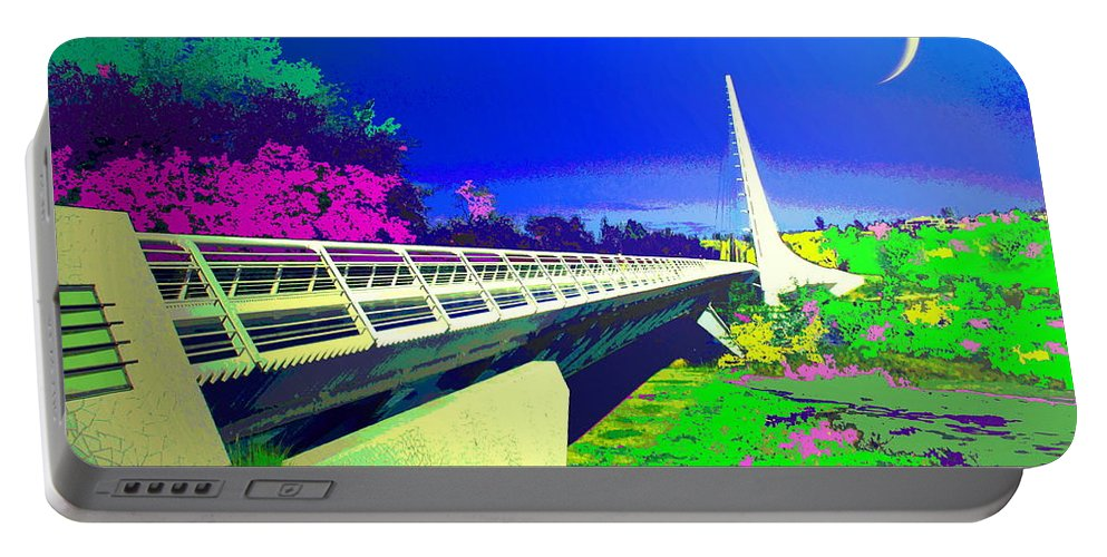 Sundial Portable Battery Charger featuring the photograph Sundial Bridge Redding Ca Digitally Painted by Joyce Dickens