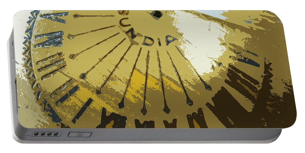Sundial Portable Battery Charger featuring the digital art Sundial by Lovina Wright