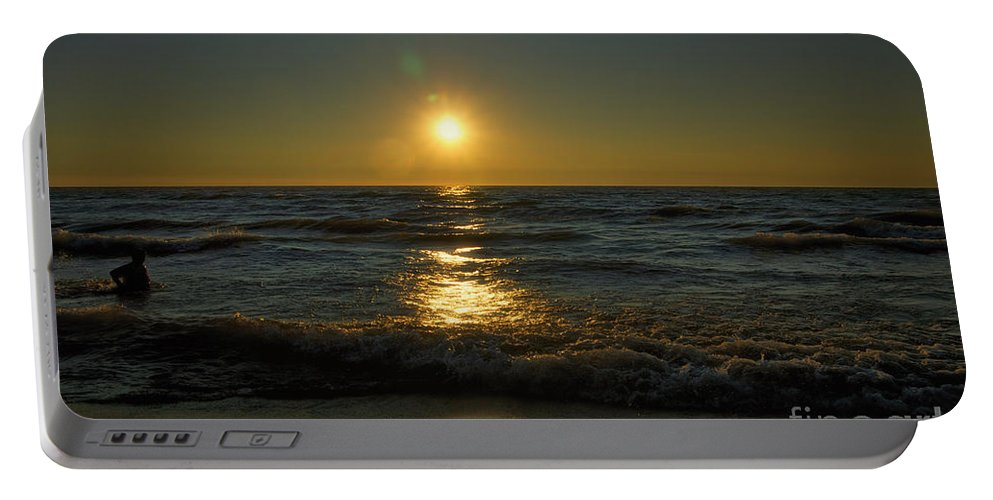 Lake Michigan Portable Battery Charger featuring the photograph Sundown Gazing by Thomas Woolworth