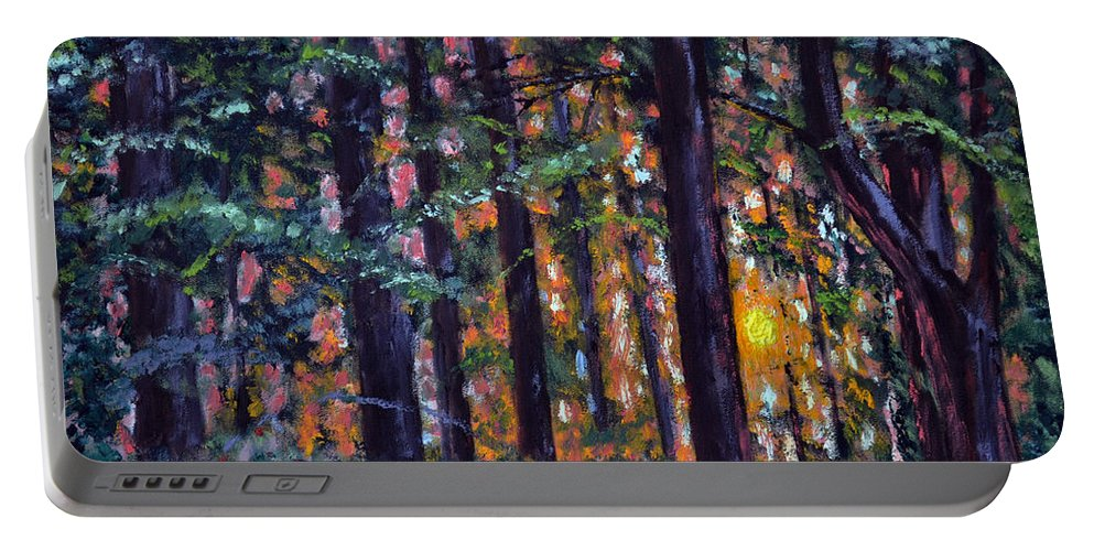 Sundown Portable Battery Charger featuring the painting Sundown In Woods by Stan Hamilton
