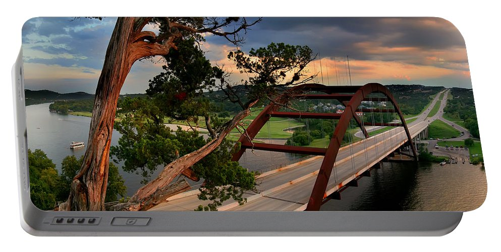 The Pennybacker 360 Bridge Portable Battery Charger featuring the photograph Sundown On Pennybacker 360 by Randy Smith