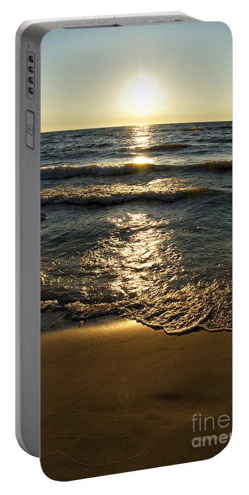 Lake Michigan Portable Battery Charger featuring the photograph Sundown On The Beach by Thomas Woolworth