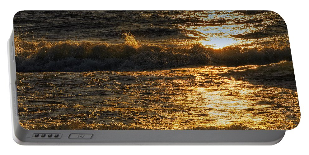 Lake Michigan Portable Battery Charger featuring the photograph Sundown On The Waves by Thomas Woolworth