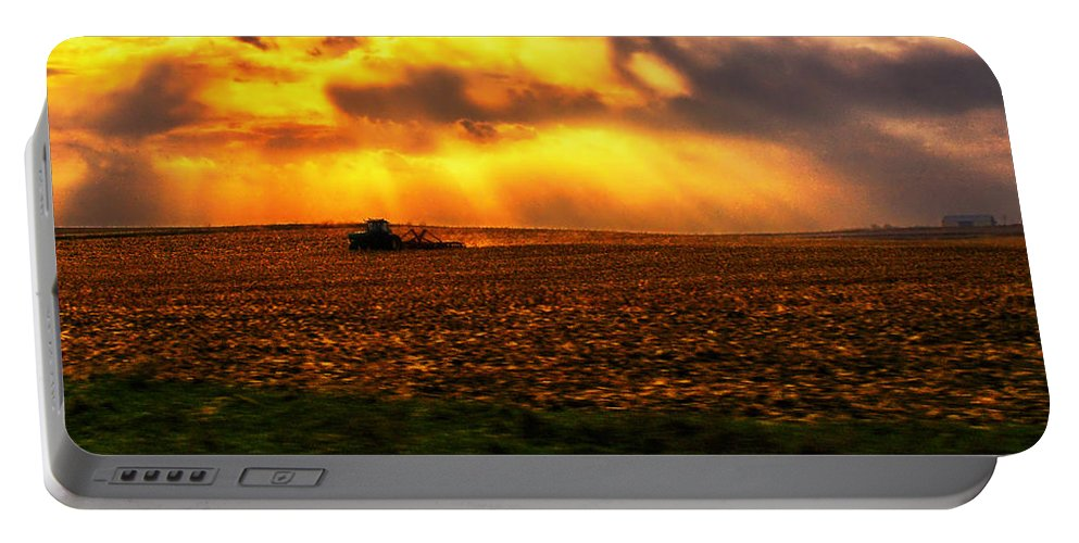 Farming Portable Battery Charger featuring the photograph Sundown On The Working Farmer by Thomas Woolworth