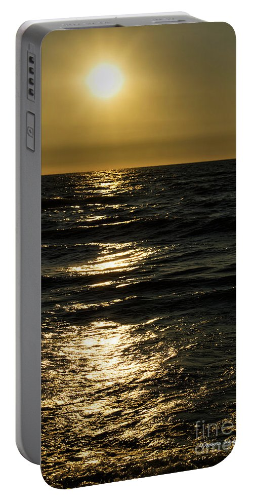Lake Michigan Portable Battery Charger featuring the photograph Sundown Reflections On The Waves by Thomas Woolworth