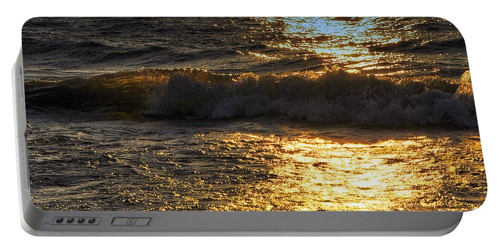 Lake Michigan Portable Battery Charger featuring the photograph Sundown Shimmer On The Waves by Thomas Woolworth
