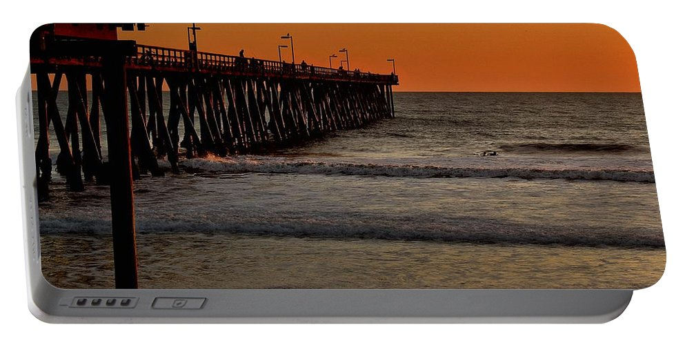 Port Hueneme Portable Battery Charger featuring the photograph Sundown Surfing by Michael Gordon