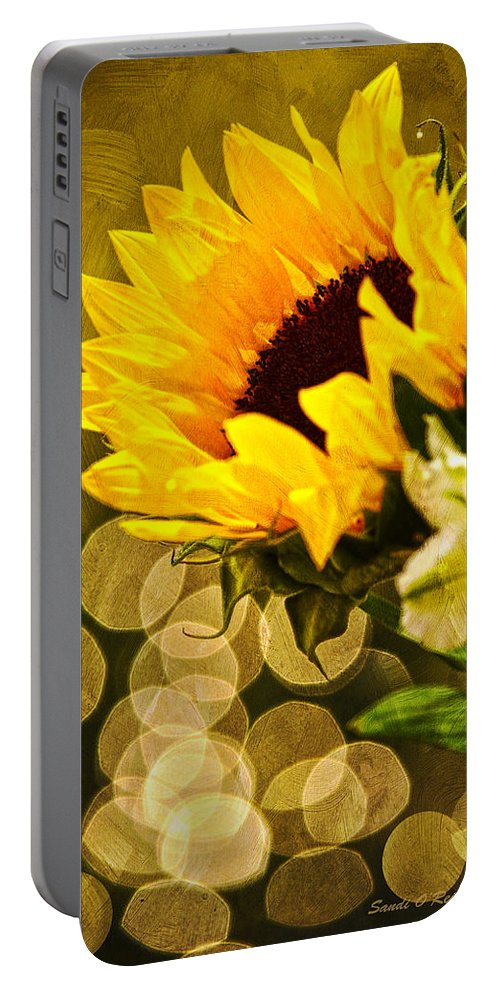 Sunflower Portable Battery Charger featuring the photograph Sunflower And The Lights by Sandi OReilly