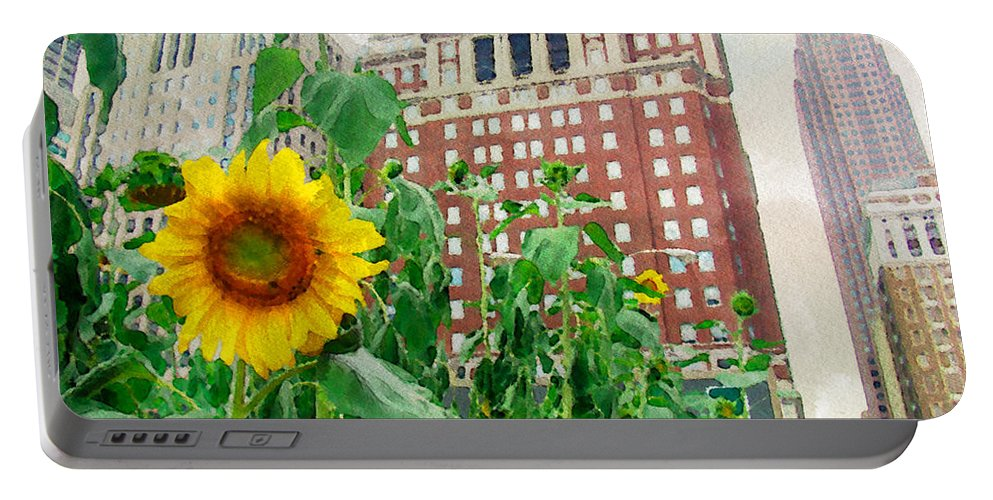 Sunflower Portable Battery Charger featuring the photograph Sunflower City by Alice Gipson