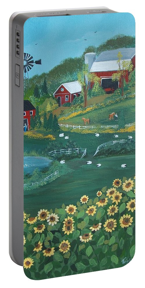 Landscape Portable Battery Charger featuring the painting Sunflower Farm by Virginia Coyle