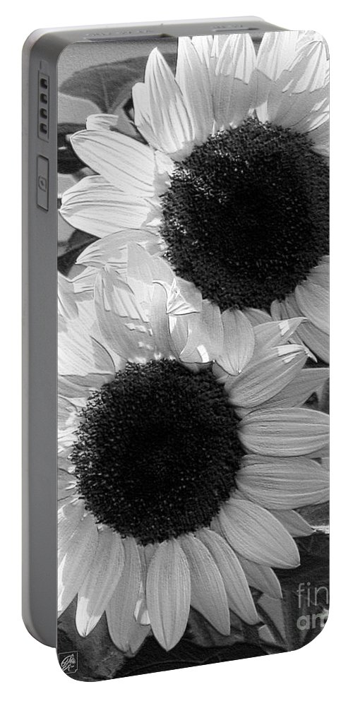 Mccombie Portable Battery Charger featuring the digital art Sunflower From The Color Fashion Mix by J McCombie