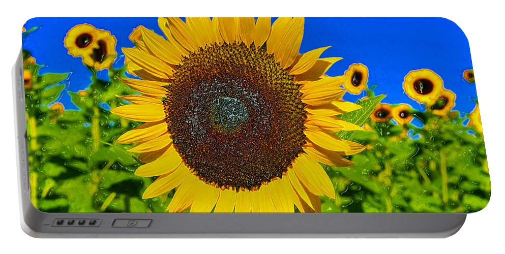 Sunflower Portable Battery Charger featuring the painting Sunflower Power by David Lee Thompson