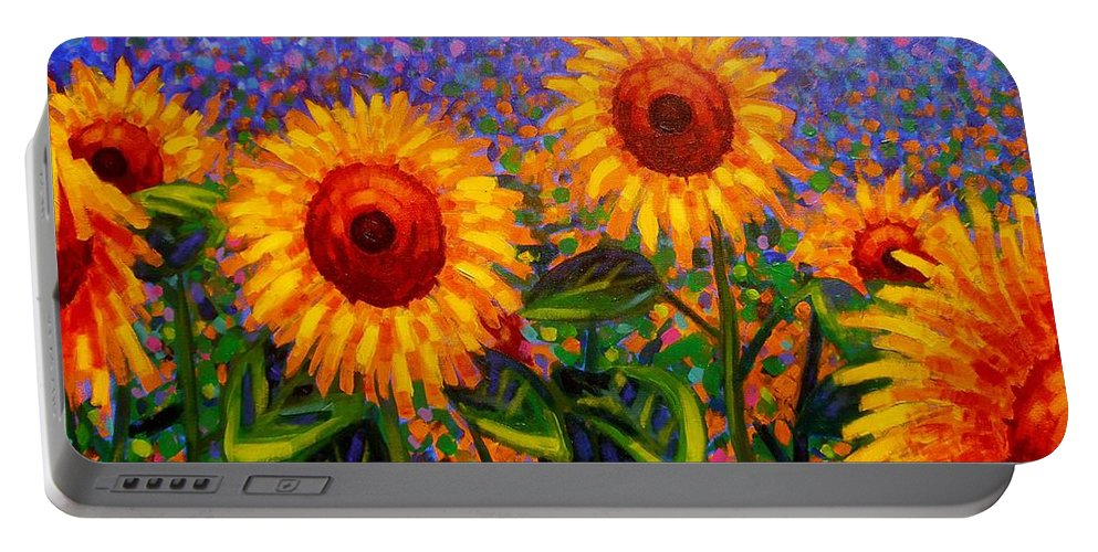 Irish Portable Battery Charger featuring the painting Sunflower Scape by John Nolan