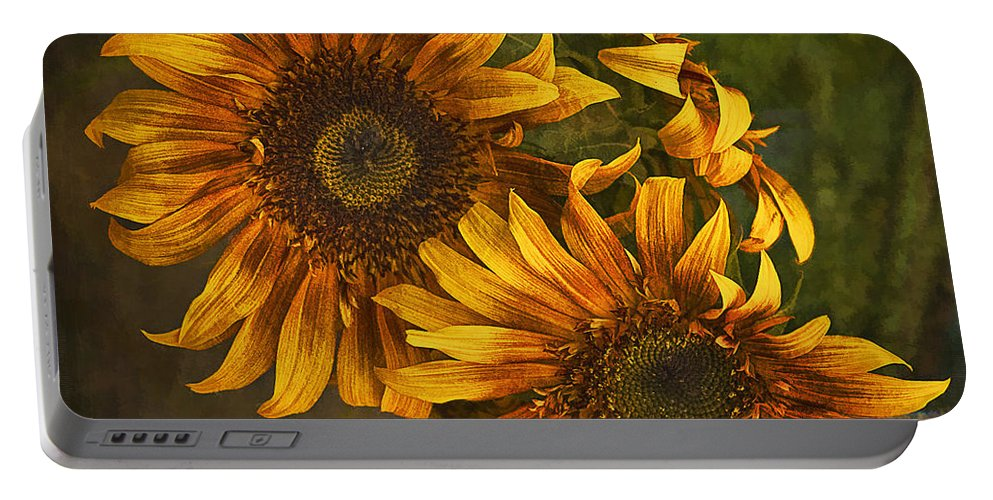 Sunflowers Portable Battery Charger featuring the photograph Sunflower Trio by Priscilla Burgers