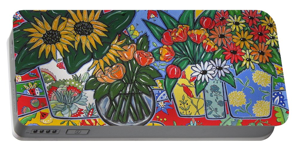 Poppies Portable Battery Charger featuring the painting Sunflowers And Poppies by Brooke Baxter Howie
