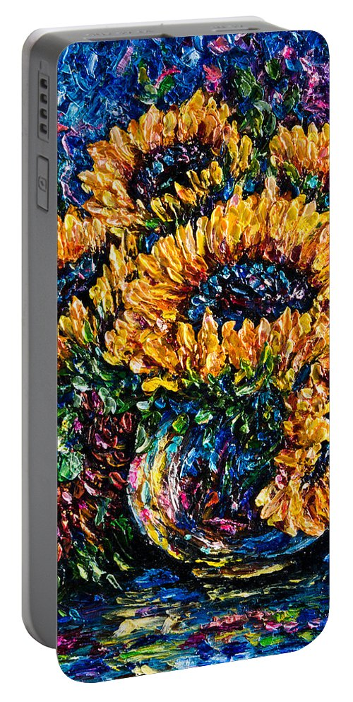 Original Impasto Art Portable Battery Charger featuring the painting Sunflowers Bouquet In Vase by OLena Art Brand
