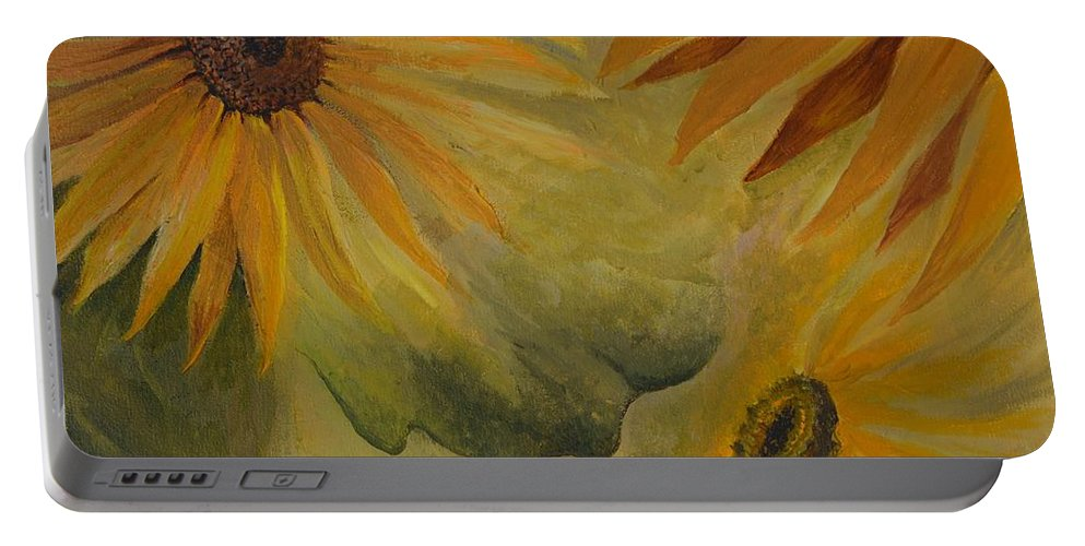 Sunflowers Portable Battery Charger featuring the painting Sunflowers by Charles Owens